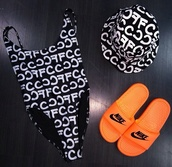 shoes,nike slides,nike sands,nike sneakers,nikes,orange,sandals,black,swimwear