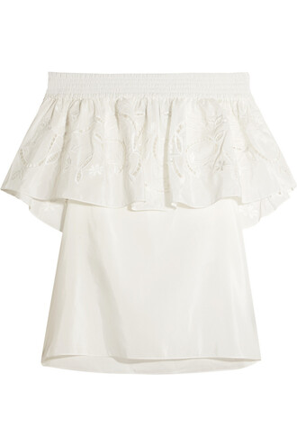 top embroidered cotton silk