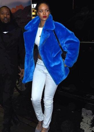 coat fashion style blue coat fuzzy coat rihanna