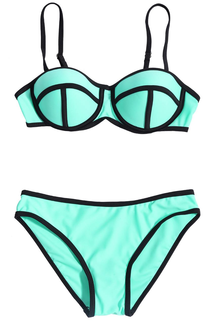 ROMWE | ROMWE Eye-like Cup Low-rise Sheer Green Bikini, The Latest Street Fashion