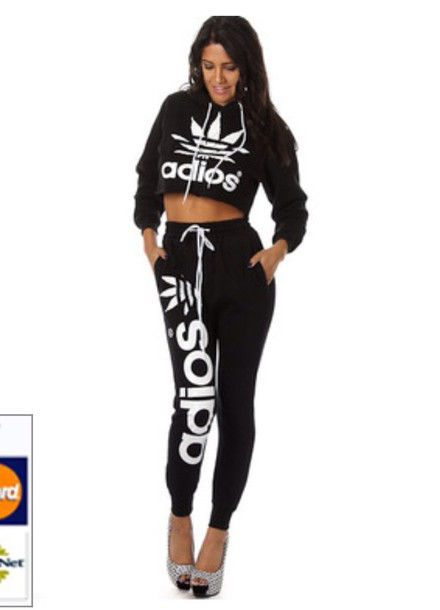 Jumpsuit Adidas Crop Tops Fashion Sweater Pants Black Joggers