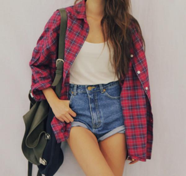 blouse checkered checkered shirt denim shorts t-shirt shorts shirt clothes check shirt