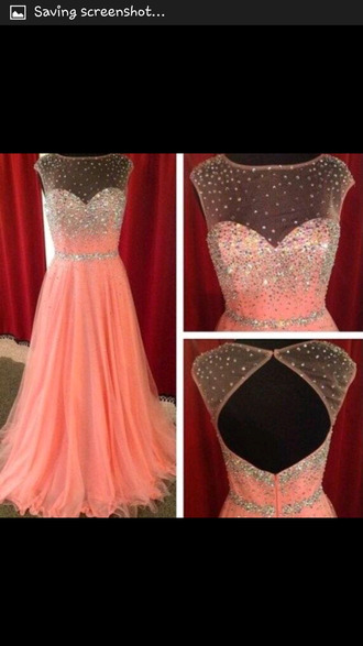 dress pink long prom dress lace dress diamons pink princess prom dress sequins sparkle jewels beautiful long prom dress