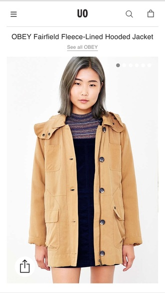 coat urban outfitters jacket tan obey