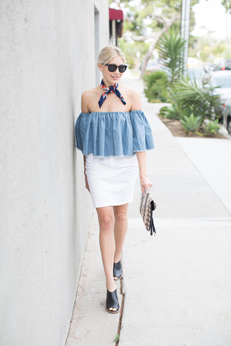 modern ensemble blogger off the shoulder blue top white skirt mini skirt clutch summer outfits date outfit denim top frayed denim off the shoulder top peasant top blue off shoulder top black sunglasses bandana mules black mules