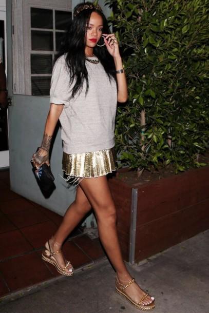 Shoes Rihanna Gold Platform Shoes Sandals Sequins