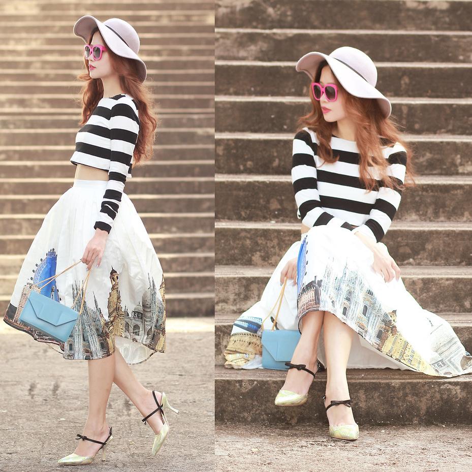 Scenic Print Midi Skirt - Retro, Indie and Unique Fashion