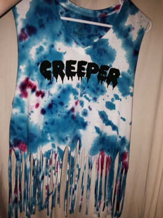 t-shirt creepers fringe tie dye flannel crop tops tumblr girl flashes of style