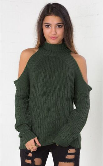 sweater cardigan knitted sweater green army green khaki open shoulders zara tumblr fall sweater winter outfits winter sweater indie boho bohemian grunge vintage knitwear turtleneck fall outfits jeans
