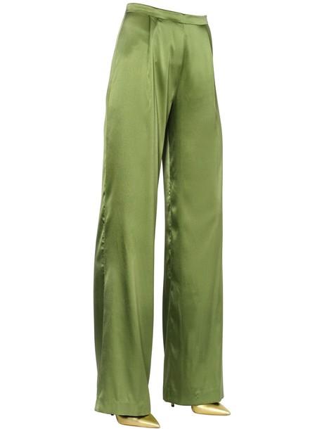 pants silk satin green