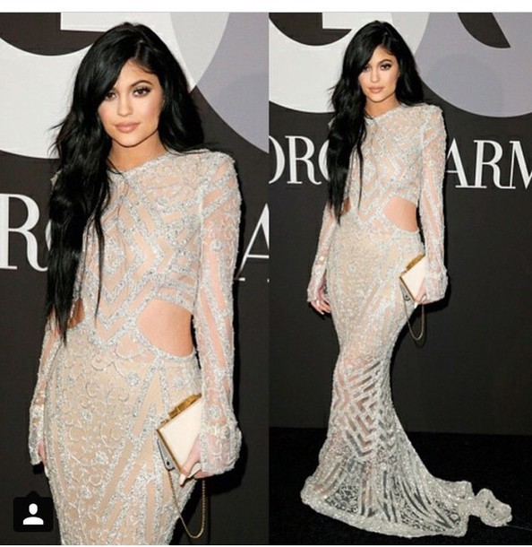 kylie jenner clutch long dress grammys 2015 sequin dress gown dress kyli jenner
