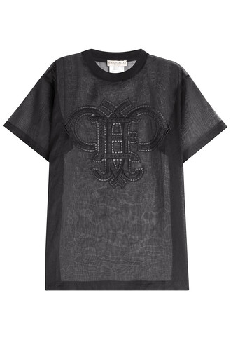 t-shirt shirt cotton t-shirt transparent embroidered cut-out cotton black top