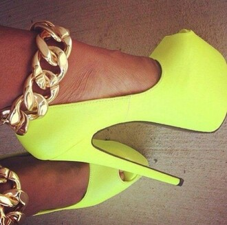 heels yellow pumps stilettos killer heels gold chain high heels sexy hot jewels platform shoes blackheels shoes