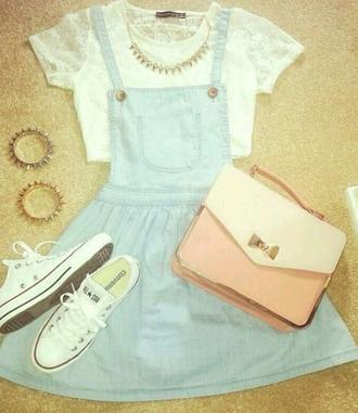 dress denim white t-shirt blue dress converse pink purse clutch necklace cute dress girly