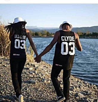 black jersey bonnie bonnie and clyde matching shirts matching couples t-shirt