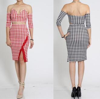 dress houndstooth off the shoulder strapless sweetheart skirt set slit colorblock print party