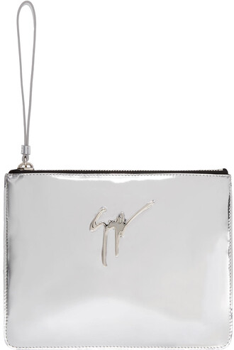 pouch silver leather bag