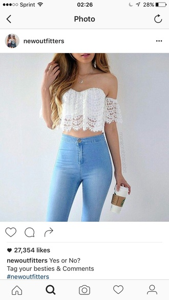 top white top white crop tops summer top cute top crop tops outfit outfit idea summer outfits cute outfits spring outfits date outfit party outfits jeans skinny jeans high waisted jeans blue jeans light blue jeans high waisted pants high waisted pants skinny pants clothes style stylish fashion off the shoulder see through