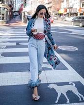 jeans,white top,sunglasses,bag,belt bag,shoes,pink shoes,embellished,denim,blue jeans,top