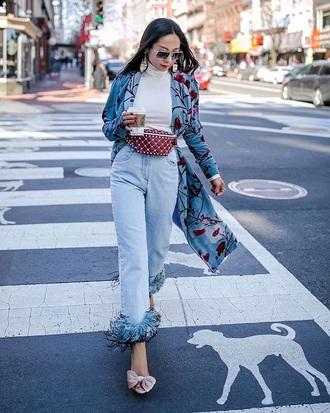 jeans white top sunglasses bag belt bag shoes pink shoes embellished denim blue jeans top