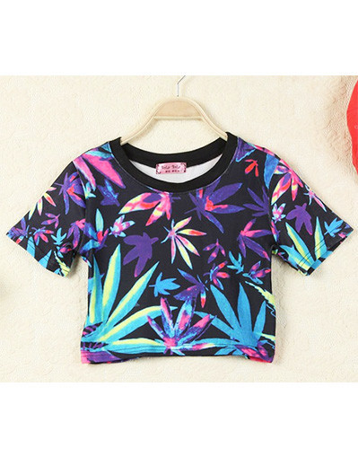 Leaf sheet green trend crop top