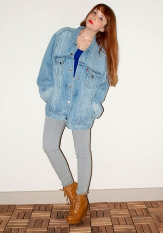 jacket grunge vintage hipster denim jacket denim jacket vintage coat oversized jacket cute light blue