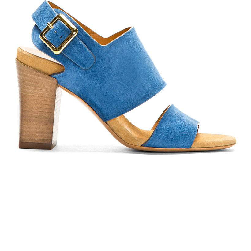 Blue suede heeled sandals