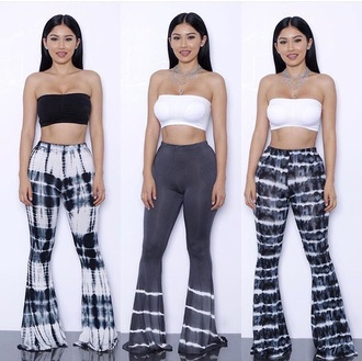 pants wide legs high waisted pants tie dye women leggings printed leggings hippie fashion streetwear