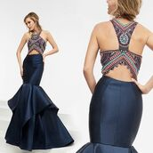 dress,jasz couture,fit and flare dress,navy dress,blue dress,prom dress,beaded,halter dress,mermaid prom dress