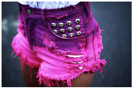 Runwaydreamz : julia vintage pink/purple dyed studded shorts