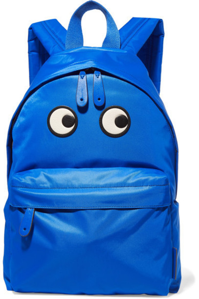 Anya Hindmarch eyes shell backpack leather blue bright bag