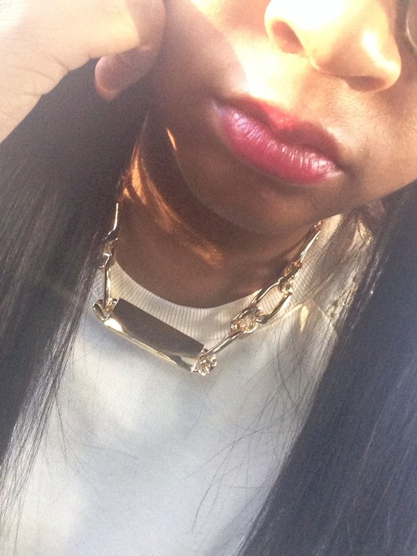 jewels necklace gold chain nameplate jacket