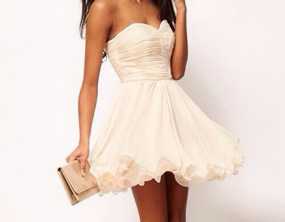 dress strapless dress white dress knee length dress wedding dress white strapless