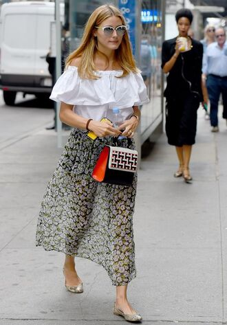 blouse off the shoulder skirt midi skirt olivia palermo flats sunglasses purse ballet flats bag printed ballerinas maxi skirt floral skirt off the shoulder top white top white sunglasses cat eye printed bag