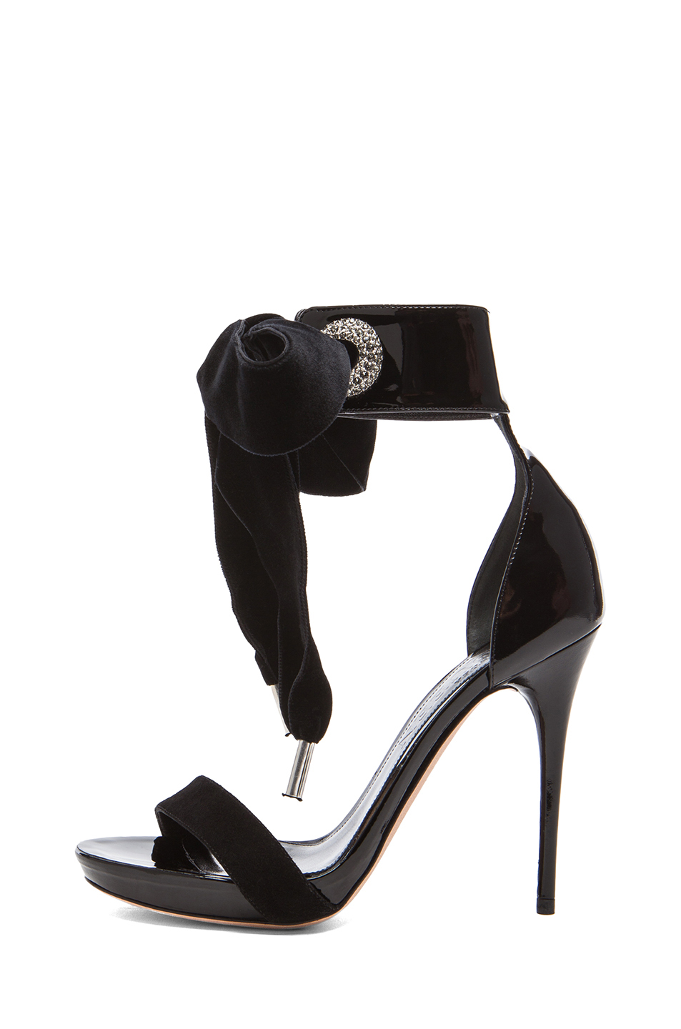 Diamante eyelet leather sandals in black