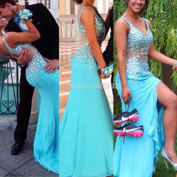 prom dress evening dress blue dress see through dress straps chiffon dress evneing gowns gowns straps dress
