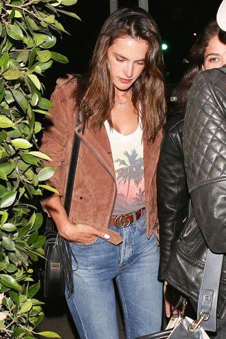 jacket top jeans belt alessandra ambrosio model off-duty