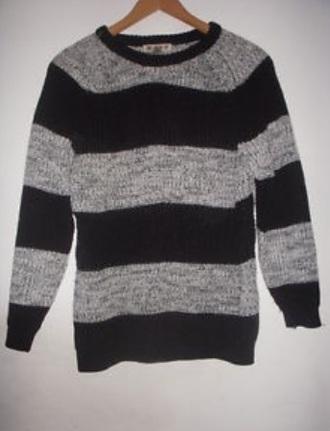sweater grunge punk striped sweater knitwear black and grey jumper