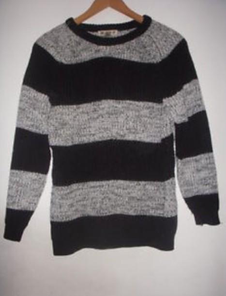 Sweater Grunge Punk Striped Sweater Knitwear Black And Grey