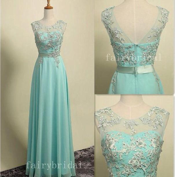dress light green chiffon prom dress lace appliques prom dresses light blue prom dress prom dress long prom dress blue dress pastel blue dress sweatheart neckline