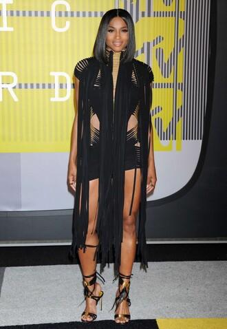 dress fringes fringed dress ciara vma sandals all black everything