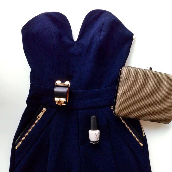 dress blue dress bodycon zip clutch ring nail polish strapless dress