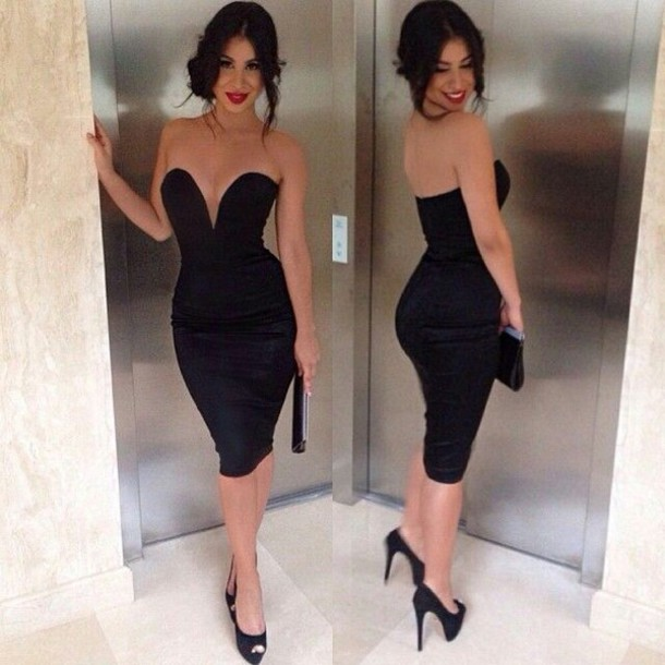 Dress: vue boutique, sweetheart neckline, all black everything ...