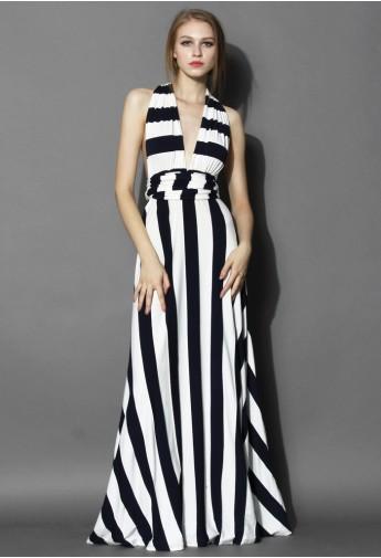 Spotlight Stripes Self-tie Maxi Dress - Retro, Indie and Unique Fashion