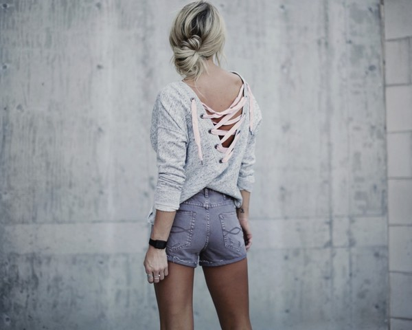 b5cdbe3288 happily grey blogger sweater lace up lace up top grey top grey shorts.