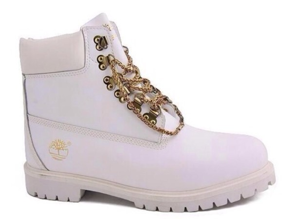 white timberlands with gold chains