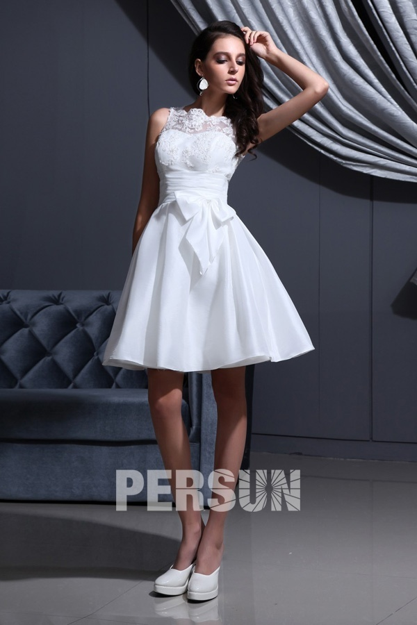 Short White Classic Bateau Empire Sash Destination Bridal gown [WBCF1838] - PersunMall.com