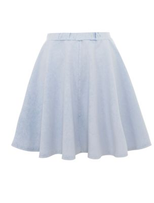 light blue denim jersey skater skirt
