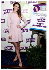 shoes,sandals,jaime king,baby pink,long sleeve dress,spring outfits,spring dress