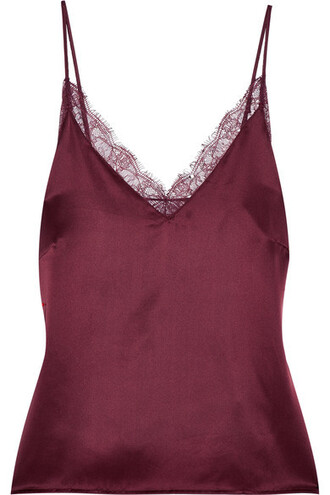 camisole lace silk satin burgundy underwear
